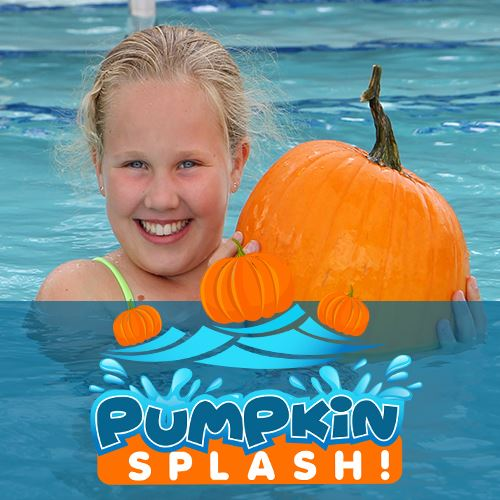 Teen girl in a pool holding up a big pumpkin