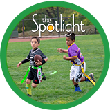 Two Boys Playing Flag Football