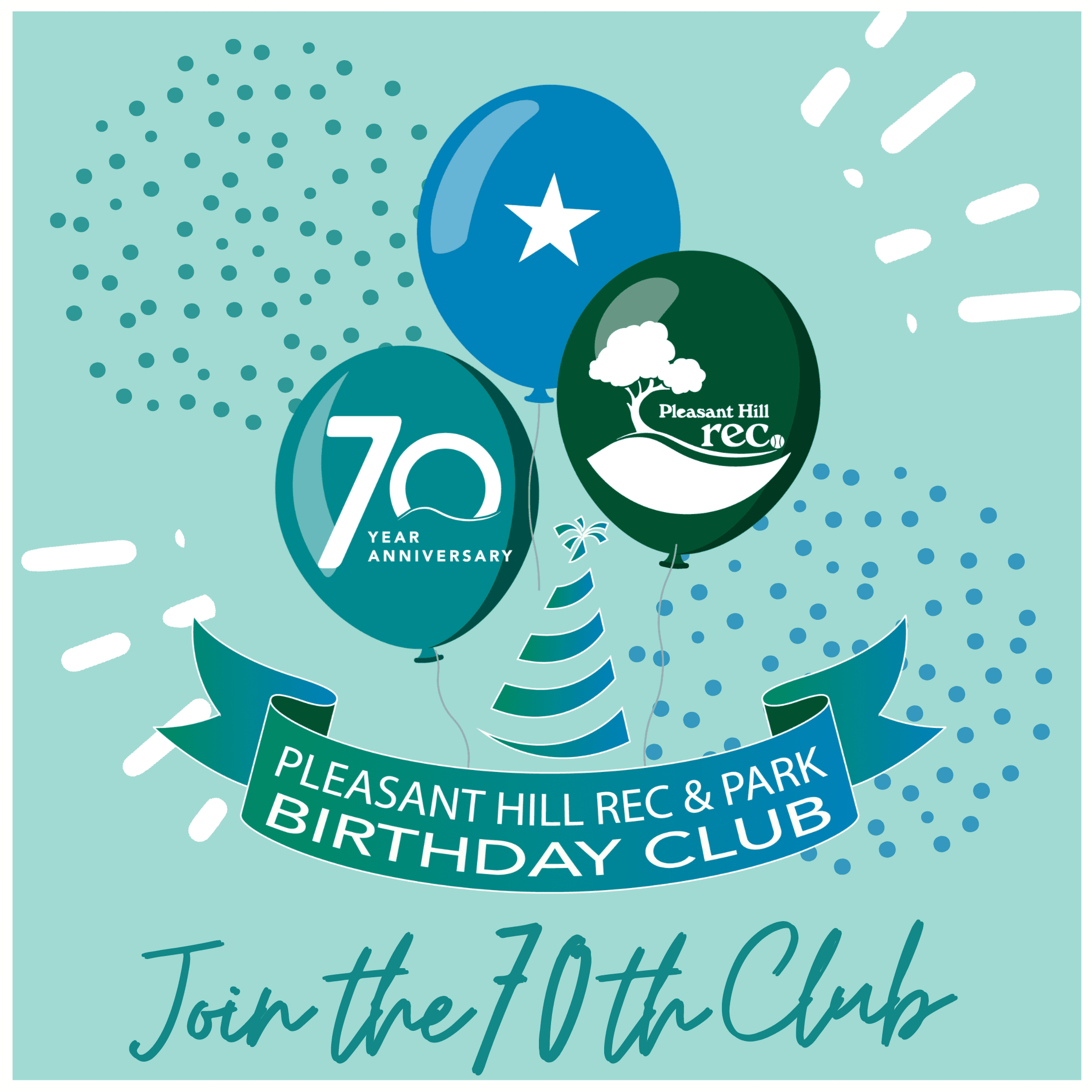 70th Birthday Club Logo with floating balloons