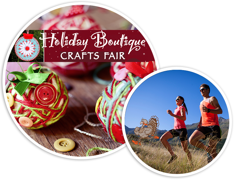 Handcrafted ornaments and a couple running in the hills