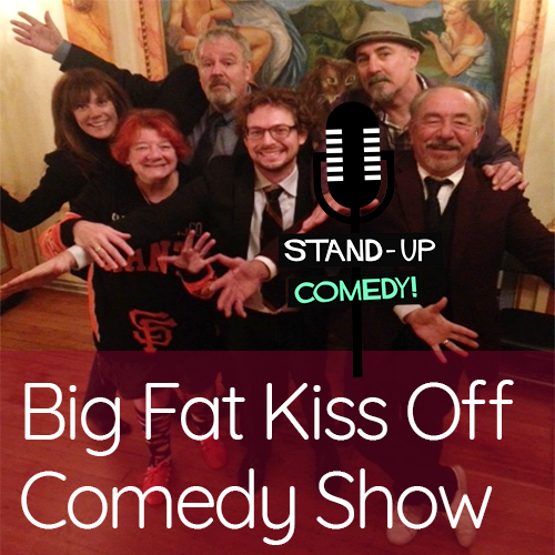 Group of comedians with stand up mic graphic