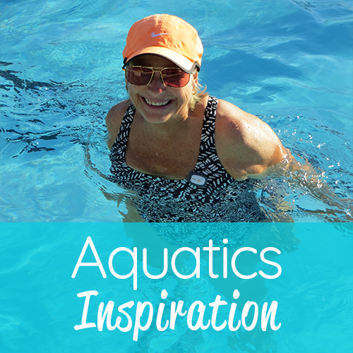 Aquatics Inspiration Graphic with lady in pool