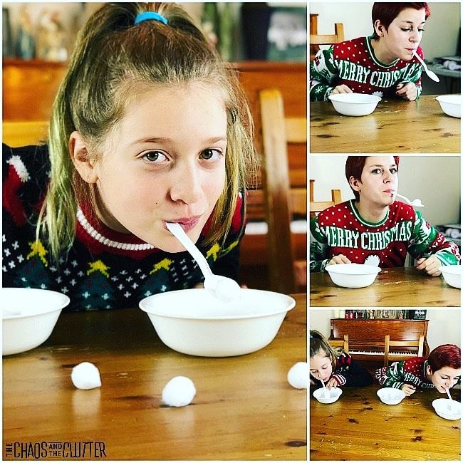 Collage of girls with a spoon in their mouth moving cotton balls from one bowl to another bowl.