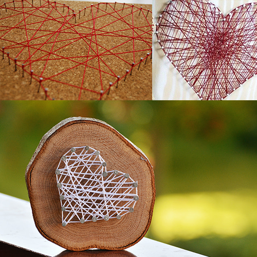 Collage of 3 different heart string art projects.