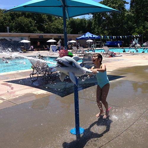 Young girl spraying dolphin water cannon at pool